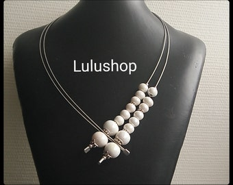 Thin wire, white ceramic beads necklace