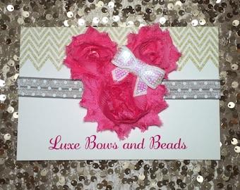 Pink Minnie Mouse headband on silver and white polka dot elastic, minnie mouse birthday headband