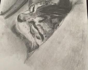 "Reese"" small cat sleeping original drawing"
