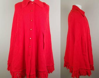 Red cape - vintage knitted cape - cape with armholes - button down cape - collared cape