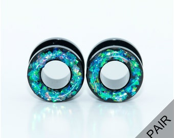 Holographic Tunnel Plugs / 6g, 4g, 2g, 0g, 00g, 1/2, 9/16, 5/8 inch / multi color holographic gauges / black acrylic screw on tunnels