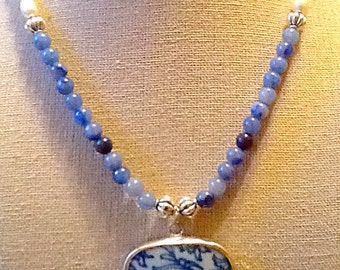 Blue and white Ming pottery shard pearl blue aventurine necklace Chinese pendant, oriental Asian jewelry zen