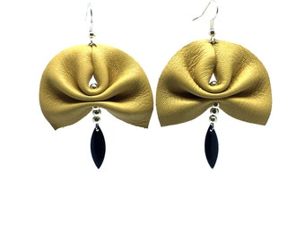 Beige/camel leather and black sequin earrings