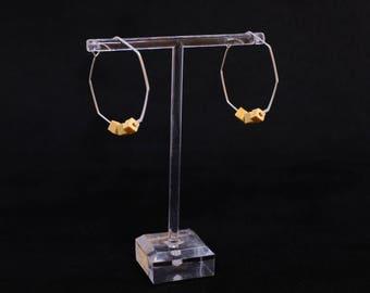 Medium octagon hoop earrings with wood beads – silver