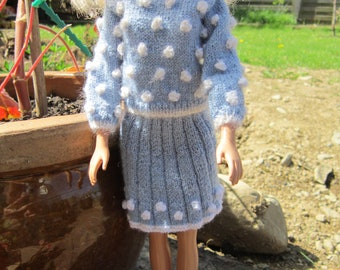 Hand Knitted, Snowstorm Suit for Barbie Doll