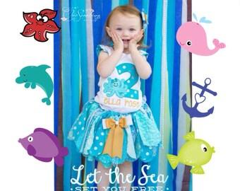 Under the sea tutu, ocean tutu, under the sea birthday tutu, octopus tutu, sea tutu, birthday tutu, birthday shirt, sea birthday ocean UD
