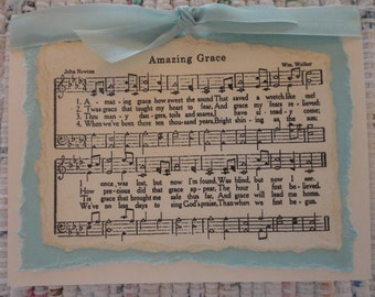Christian Hymn Note Cards  set of 6  Amazing Grace