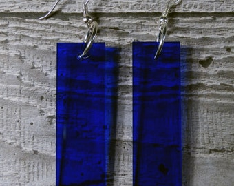 Navy Perspex Drop Earrings - Dangle Earrings - Acrylic - Translucent