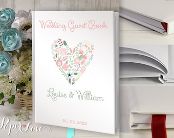 Large  Wedding Guest Book Rustic Flower Heart Personalised Customized  Custom Made Handmade Satin Ribbon 50 pages Padded Cover Affordable