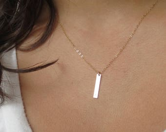 Dainty Necklace Personalized Initial Necklace Sterling Silver Bar Necklace Gift for Women Best Friend Gift Cute Rose Gold Necklace