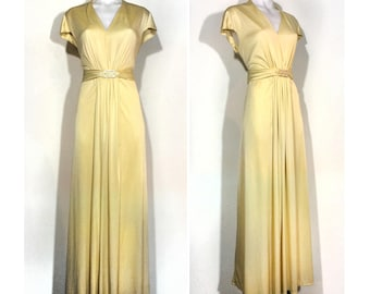 sz. M | 70's vintage goddess maxi dress / lemon yellow deco rhinestone buckle polyester evening gown / 1970's high waist maxi dress gown