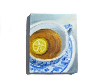 Lemon Tea Painting - Tea Painting, Original Painting, Lemon Painting, Tea Art, Tea Cup Painting, Lemon Tea, Tea Cup Art