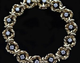 Vintage Van Cleef and Arpels VCA Bracelet Gold Diamonds V.C.A Bangle (5885)