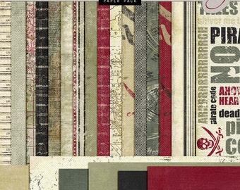 PIRATE Digital Paper - Pirates Theme Paper - Pirate Scrapbook - Pirate Backgrounds - INSTANT DOWNLOAD