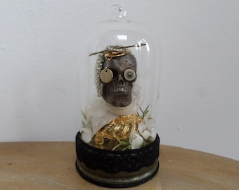 The Reliquary of Ethelreda - miniature skull assemblage under glass dome,unique,now in The Curio Cupboard