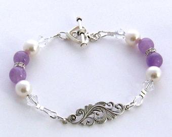 Genuine Amethyst Gemstone Bracelet, Purple Amethyst and Pearl Bracelet, Sterling Silver Amethyst Bracelet, February Birthstone Bracelet