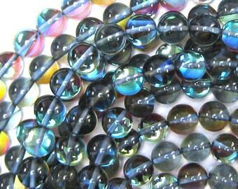 "10mm rainbow blue quartz round beads 15"" strand S1 33869"