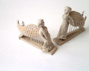 Clay angel earrings polymer clay harpist harp miniature dangle triangular sculpted earrings