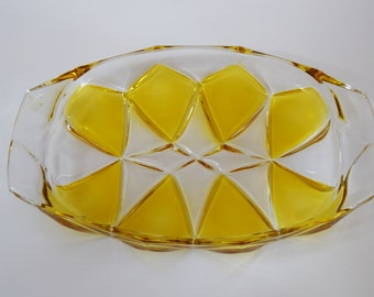 Retro yellow glass serving platter