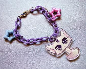 Cute Unicorn Cat bracelet - Fairy kei 90's plastic accessory kawaii charm - girly pop pastel goth style jewellery