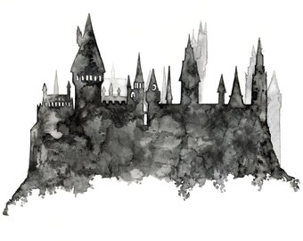 """Hogwarts Painting - Print from Original Watercolor Painting, """"Hogwarts Silhouette"""", Harry Potter, Hogwarts Castle, Wizarding School"""