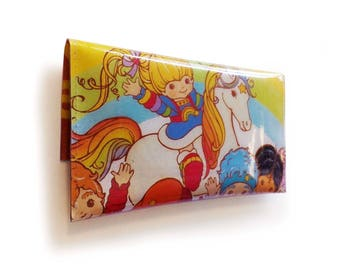 Rainbow Brite Purse - Upcycled Vintage 80's Book Page in PVC - Color Kids, Starlite - Womens wallet, Coin pouch