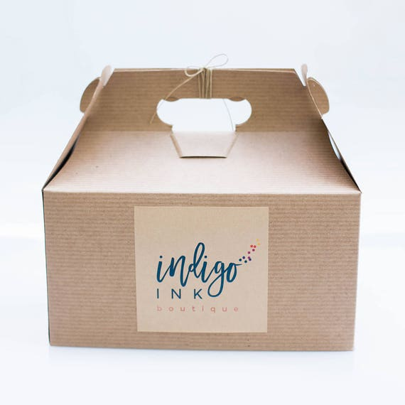 9.5 x 5 x 5  Kraft Natural Gable Gift Box lot of 25  w/ pinstripe texture - Custom printed label options available
