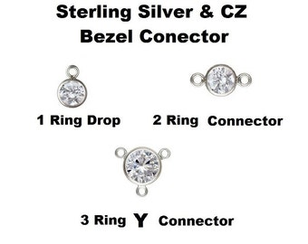 Sterling Silver And CZ Bezel Connector Choose Style, Size ,Quantity - Made In USA