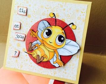 "sweet bee card ""say, we play?"""