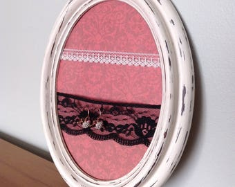 Antique oval frame for earrings with black white lace woman daughter mother teacher girls wedding gift shower bridemaids for her vintage
