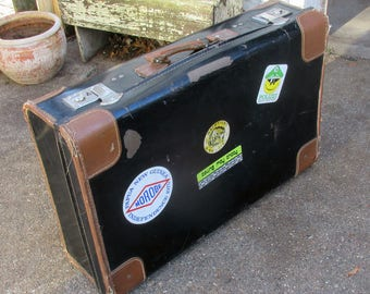 Old Time Travelers Black Leather Suitcase with Decals and Leather Handle