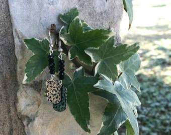 Silver/Black Dog Tag Earrings