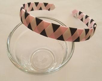 Pink black and white satin ribbon woven headband hair band adult headband school colors teen ager headband spring headband braided headband