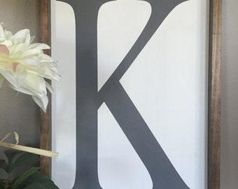 Custom Letter or Number Framed Wood Sign