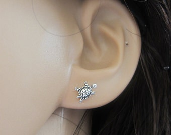 Tiny Sterling Silver Turtle Studs Earrings, Turtle Earrings, Good Luck, children Earrings, Dainty Earrings
