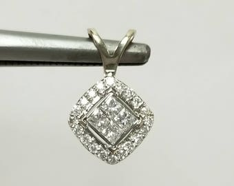 "10mm 1/2"" Estate 14k White Gold Diamond .35ct tw Princess Round Cut Pendant GS2194H"