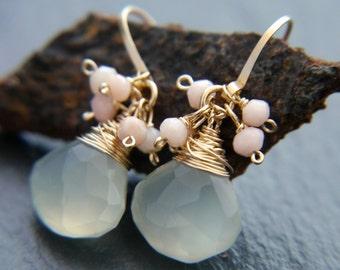 Chalcedony Earrings, Sea Glass, Pink Opal, Gold Filled Earrings, Wire Wrapped, Teardrop Earrings, Cluster Earrings, Wedding,Bridesmaid