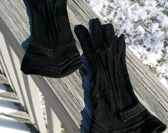 Vintage black mourning gloves