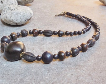 Nature Necklace, Bohemian Jewelry, Nature Jewelry, Boho Chic Necklace, Tribal Jewelry, Earthy Wood Necklace Natural Beads, Yoga Jewelry