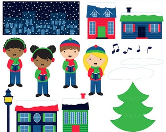 christmas clipart clip art digital sing carols singing - Singing Christmas Carols Clipart - BUY 2 GET 2 FREE