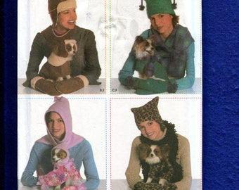 Simplicity 4780 Cozy Dog Coats & Hats Matching One for Their Mistress UNCUT
