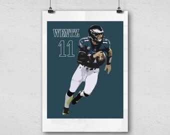 Carson Wentz - Philadelphia Eagles - NFL Football Printable Wall Decor, Photography Sports Art, Man Cave