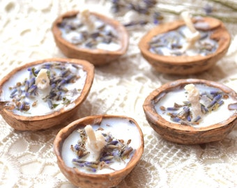Lavender candles Floating candle Wedding favors Floral wedding Tea light Bulk water Walnut shell candle Soy wax Wedding party favors 5 pcs