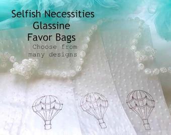 Wedding Favor Bags - Glassine Bags - Favor Bags - Bridal Shower Favors - Goodie Bags - Treat Bags - Embossed Bags - Cookie Bags - Donut Bags