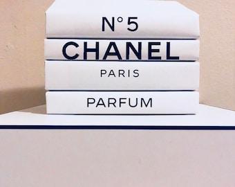 Decorative books! Set of 4 white covers books! White home decor books! Paris parfum!