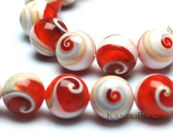"""Conch Shell Tip with Orange Resin Round Spiral beads,7"""" Half Strand  Nautilus cone, HUGE,16mm (aprox 12 beads)"""