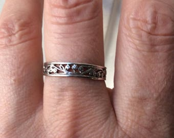 c1930 ART DECO STERLING Ring - Lovely Hand - Crafted Sterling silver-from France