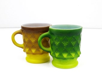 Fire King Kimberly Mugs, Set of 2, Yellow & Green Vintage Coffee Cups