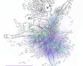 Digital Stamp - Ballet - Flower Ballerina - Graceful Dancer in Floral Costume and Pointe Shoes - Fantasy Line Art for Cards & Crafts