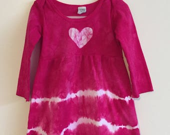 Pink Easter Dress, Girls Easter Dress, Toddler Easter Dress, Long Sleeve Easter Dress, Pink Girls Dress, Pink Heart Dress (2T)